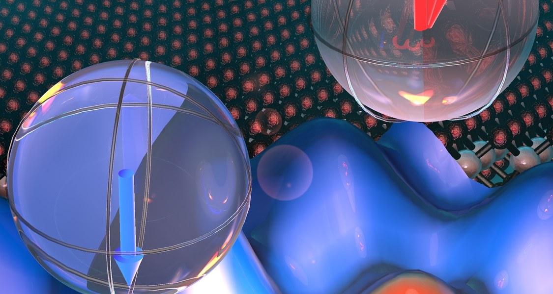 Kunst der Kontrolle: Die blauen Hügel veranschaulichen die Energielandschaft eines  Wolframdiselenid-Halbleiters. Elektronen werden von einem Tal in ein anderes Tal beschleunigt (gelborange). Die farbigen Pfeile in den Kugeln symbolisieren den Valley-Pseudospin, der dabei umgeschaltet wird.