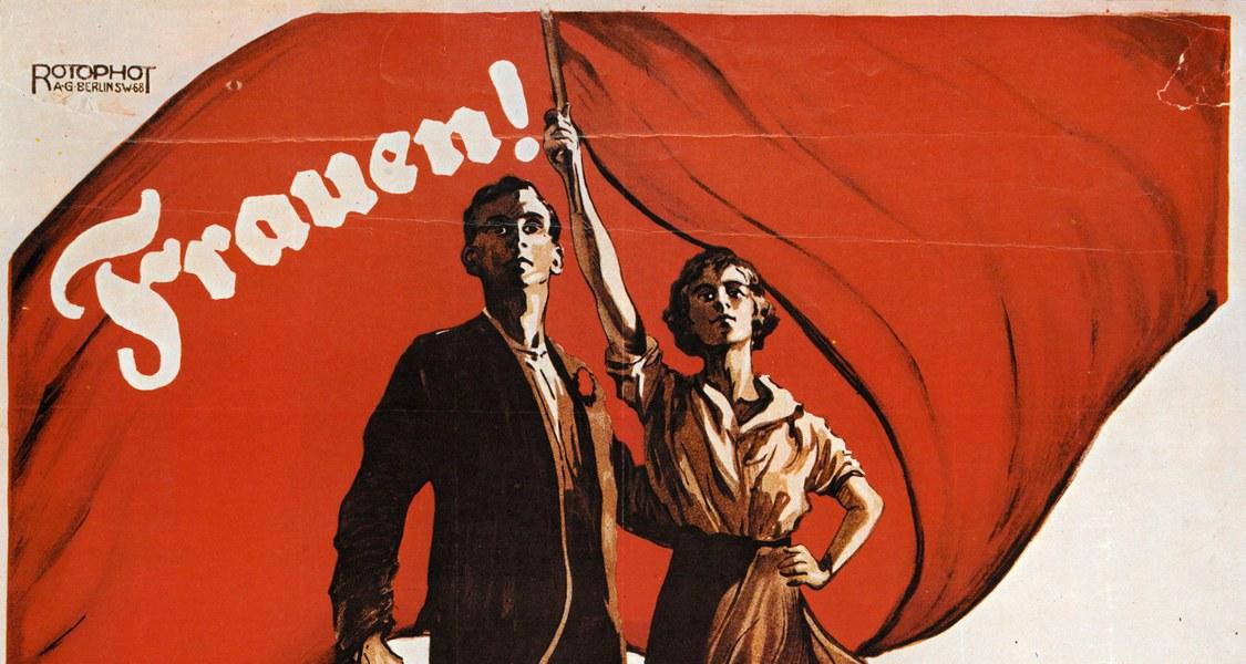 gemaltes Plakat mit Frau und Mann und roter Fahne