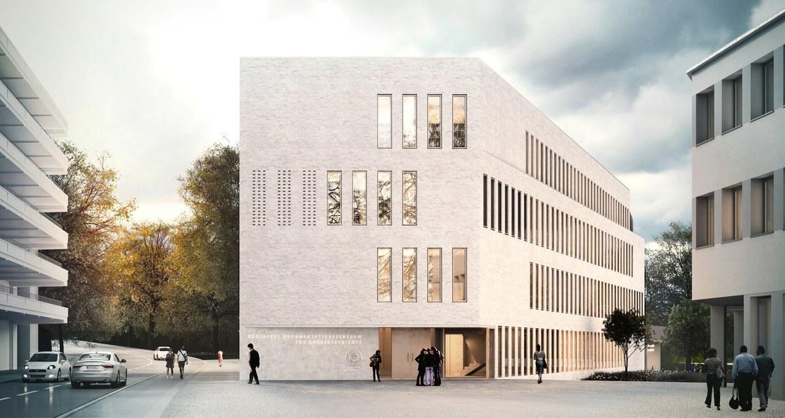 schematische Gebäudedarstellung, links Parkhaus Pilgrimstein, geradeaus Forschungsbau Foto Marburg, rechts Sprachatlas