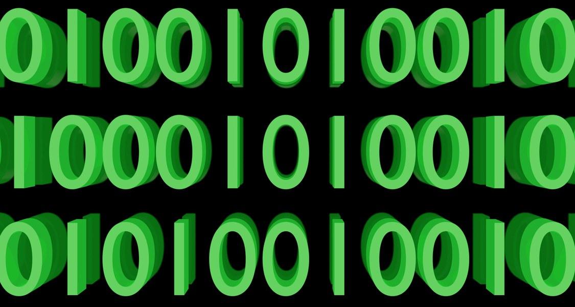 Binärcode in grün auf schwarzem Grund - Symbolbild