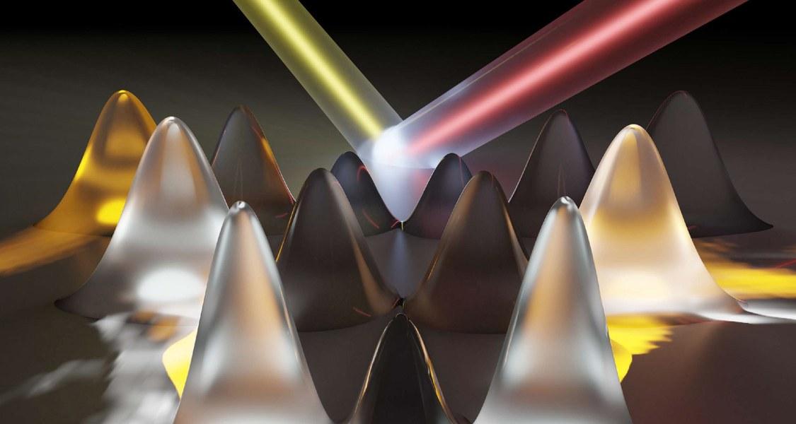 Ein Lichtblitz (gelb) induziert die Bewegung der Elektronen in der Bandstruktur (rote Kurve), was zur Ausbildung lokalisierter Elektronenkämme (Spitzen) führt. Die emittierte Strahlung (roter Strahl) ermöglicht die Analyse der elektronischen Bandstruktur.
