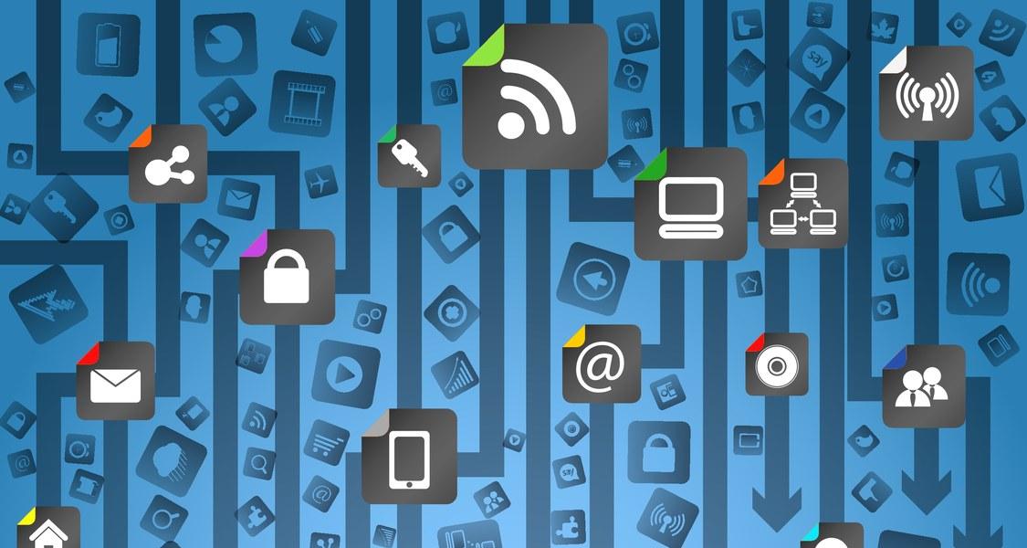 Schema mit Pfeilen und vielen Icons zur Digitalisierung