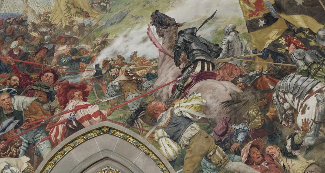 Schon für die Schlacht von Lauffen im Jahr 1534 – hier auf Peter Janssens' Gemälde von 1903 in der Aula der Marburger Alten Universität – nahm Landgraf Philipp von Hessen eine Schutzverantwortung als Rechtfertigung in Anspruch.