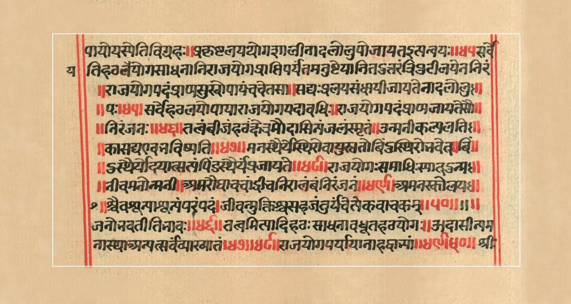 Der Grundtext des Yoga erschließt sich nur dem Sanskritkundigen: Ende des 8. Kapitels der Haṭhapradīpikā mit Kommentar. Foto: Haṭha-Yoga-Projekt