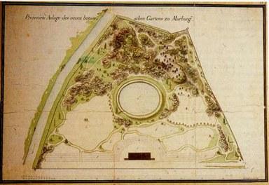 Plan des Botanischen Gartens von 1812 (Architekt Rudolf nach Prof. Wenderoth)