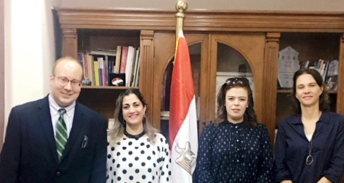 Anthony Quickel, Irene El-khorazaty, and Hala Ghoname with Prof. Dr. Heba Yousef, the First Under-Secretary of State for Foreign Cultural Relationships at the Egyptian State Ministry of Culture.