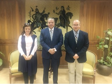 Anthony Quickel, and Hala Ghoname with Prof. Dr. Hesham Azmi, Chairman of the Egyptian National Library and Archives.