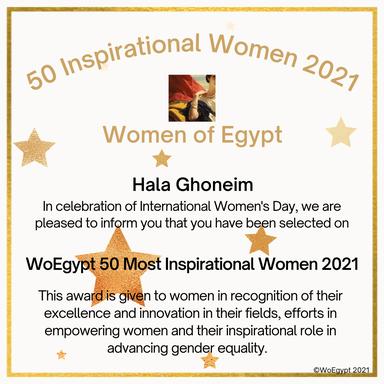 Hala Ghoneim receives award as one of Egypt's most inspirational women