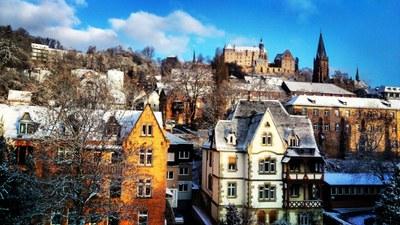 Marburg Winter Schnee Schloss