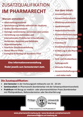 Werbeplakat für die Zusatzqualifikation im Pharmarecht
