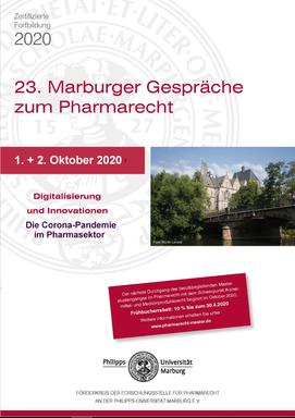 Flyer der 23. Marburger Gespräche zum Pharmarecht am 1. und 2. Oktober.