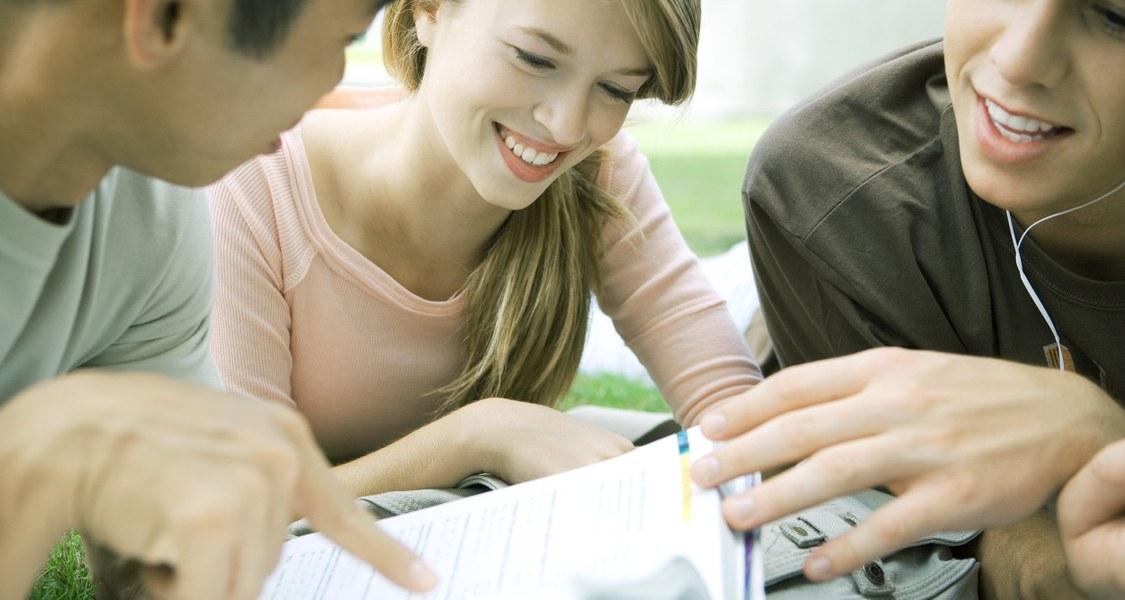 Studierende auf Grünfläche mit Buch