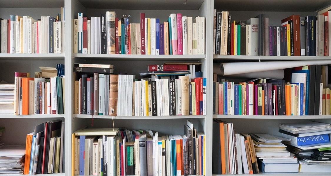 Frontale Teilansicht eines gefüllten Bücherregals