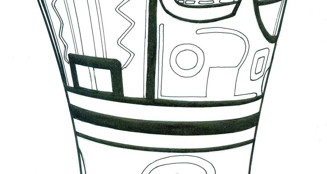 Zeichnung eines Holzbechers aus der Inka-Zeit für Trinkrituale