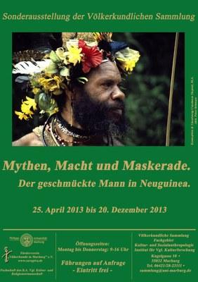 Plakat Mythen, Macht und Maskerade. Der geschmückte Mann in Neuguinea. Ausstellung