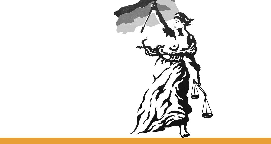 nach vorne stürmende Frau mit Fahne und Waage in der Hand / schwarz-weiße Umrisszeichnung vor weißem Hintergrund und mit orangem Unterstrich