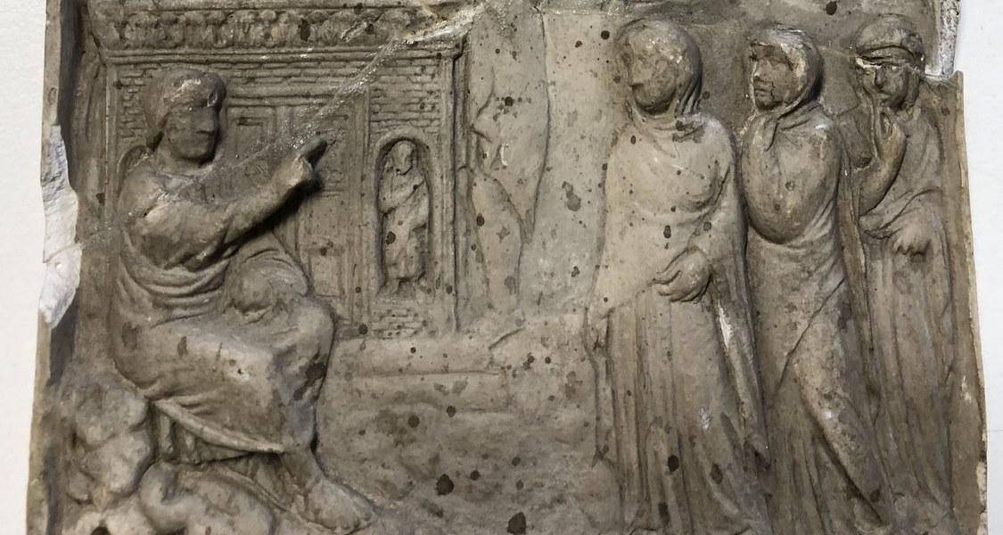 Elfenbein mit den Frauen am Grab und Himmelfahrt Christi, 4. Jh.