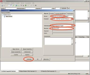 Einstellungen SFTP-Zugang des Fileservers