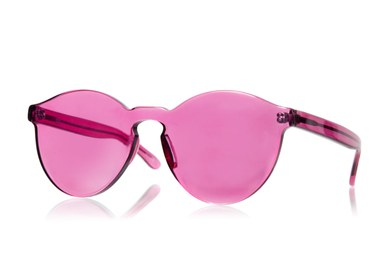 Eine rosarote Brille ist abgebildet.