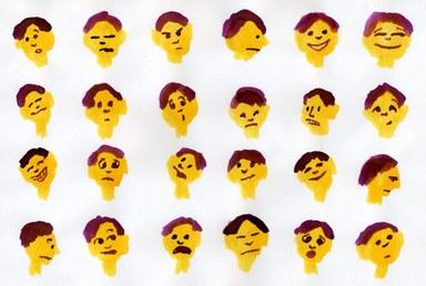 Zeichnungen von Gesichter mit verschiedenen Emotionen