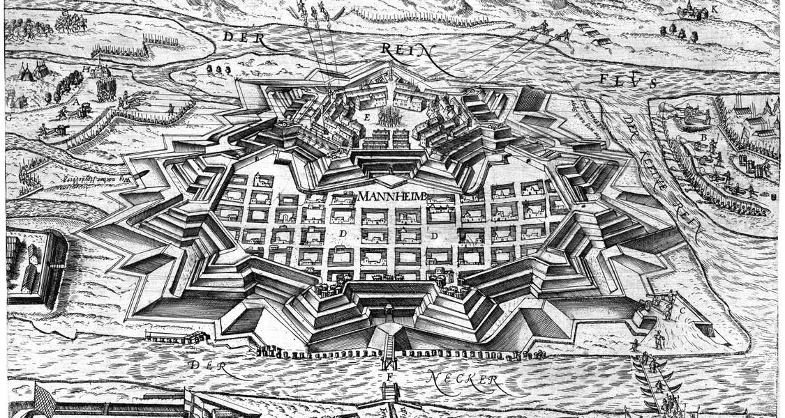 Belagerungsplan der Stadt und Festung Mannheim, schwarzweiß.