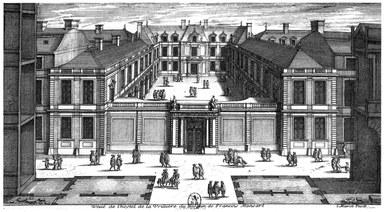 Druckgrafik: Ansicht des Hôtel de la Vrillière in Paris, schwarzweiß.