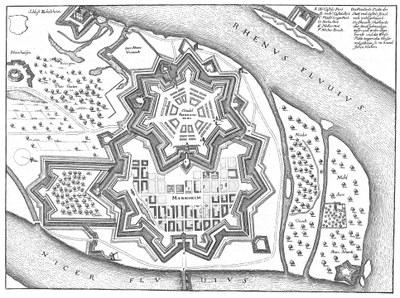 Mannheim mit der Zitadelle Friedrichsburg als Stadtplan von Matthäus Merian, schwarzweiß.