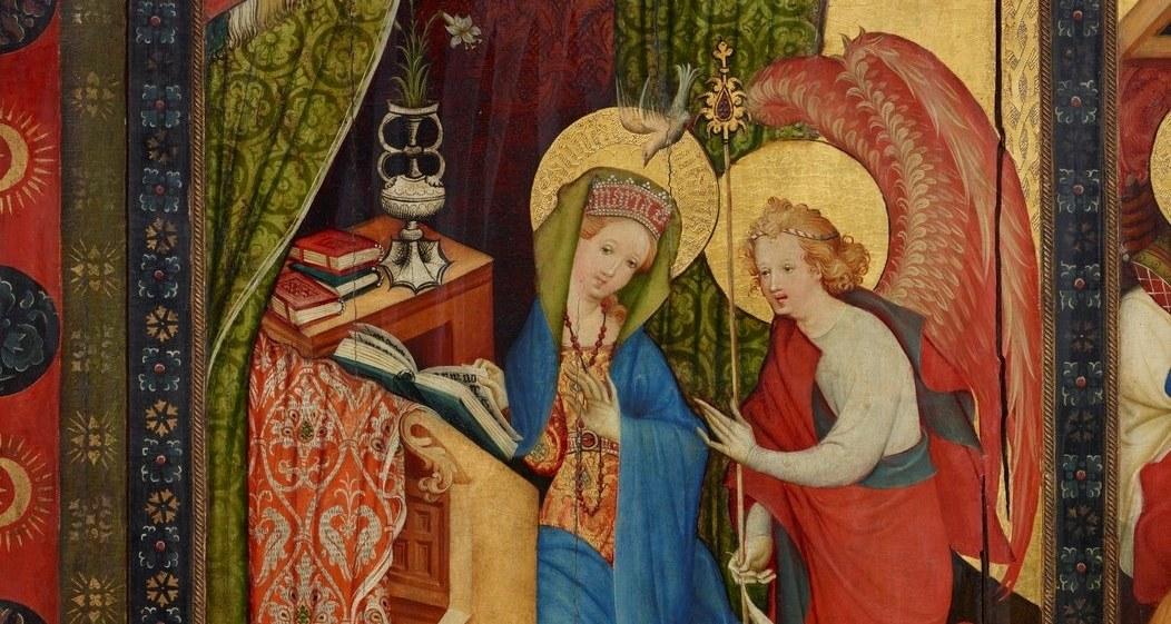 Tafelmalerei mit Maria und Engel in der Verkündigung.