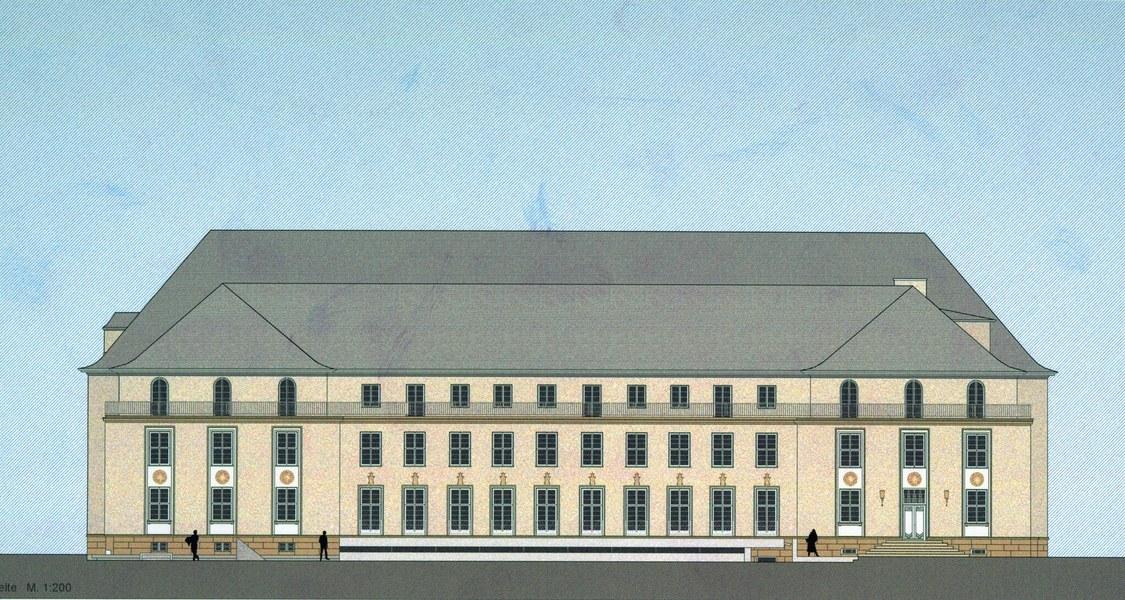 Entwurfszeichung mit einer Ansicht des Kunstgebäudes von der Gartenseite her