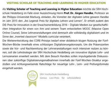Handke Auszeichnung Visiting Scholar of Teaching and Learning in Higher Education