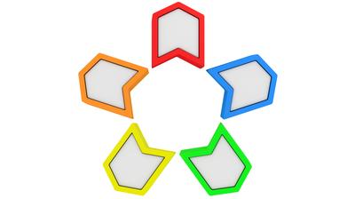 Fünf verschiedenfarbige Pfeile in einem Kreis.