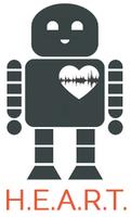 Ein stilisierter Roboter mit weißem Herz auf der linken Brustseite.