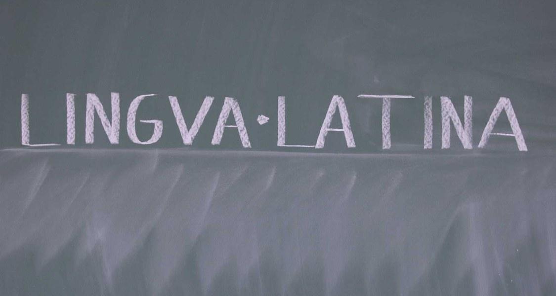 """Aufschrift """"lingua latina"""" auf einer Tafel"""