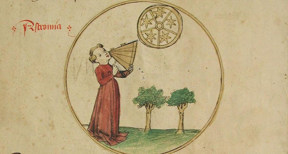 Die sieben freien Künste. Astronomie und Ptolemaeus; Kolorierte Federzeichnung. Unibibliothek Salzburg, M III 36,