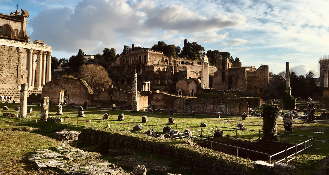 Blick auf das Forum Romanum in Richtung Palatin.