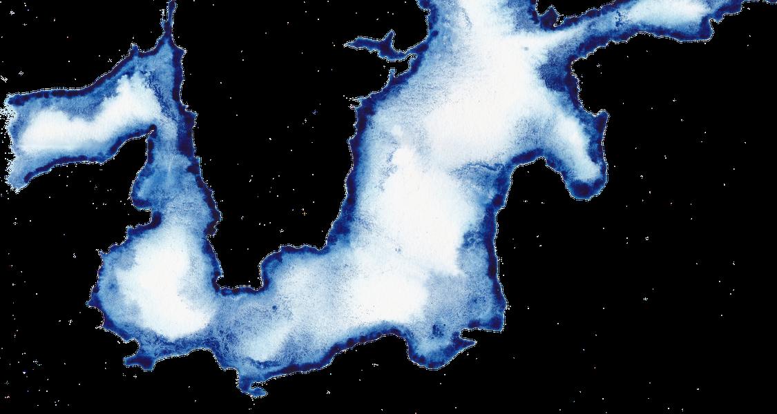 Mare Balticum als transparente Tintenzeichnung
