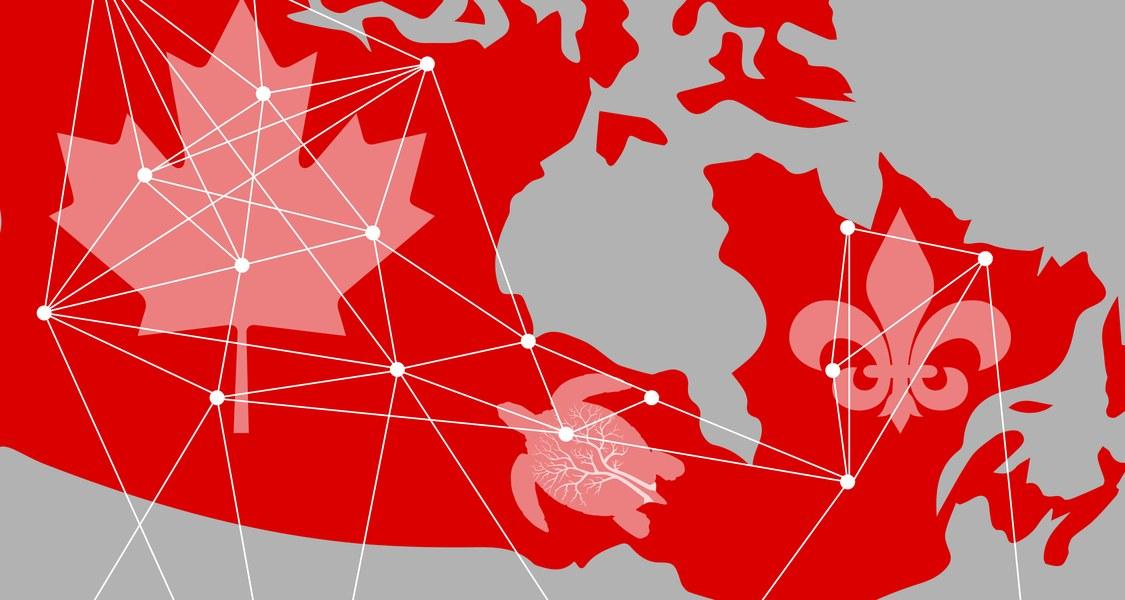 Eine Kanadakarte mit den Symbolen für Kanada, Quebec und den Indigenen Kanadas, alle miteinander verknüpft