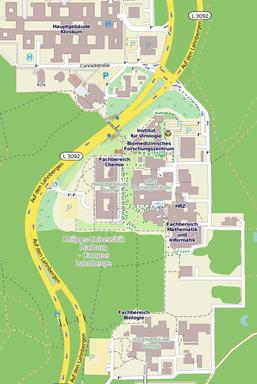 Kartenausschnitt mit der Lage des Mehrzweckgebäudes auf den Lahnbergen aus OpenStreetMap