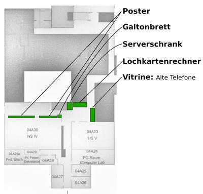 Lageplan der Vitrinen und ausgestellter Lehrobjekte der Modellsammlung im 4. Stock des A-Kerns des Mehrzweckgebäudes.