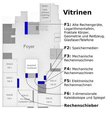 Lageplan der Vitrinen und ausgestellter Lehrobjekte der Modellsammlung im Foyer des Mehrzweckgebäudes.