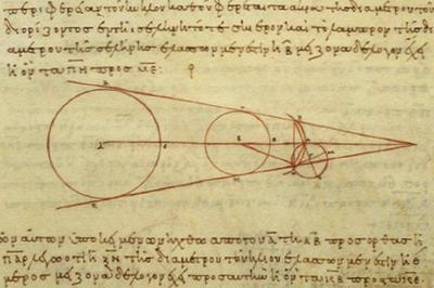 Aristarch, Berechnung der relativen Größen von Sonne, Erde und Mond, 2. Jh. v. Chr. Abschrift aus dem 10. Jahrhundert, https://sunearthday.nasa.gov/2006/multimedia/gal_006.php