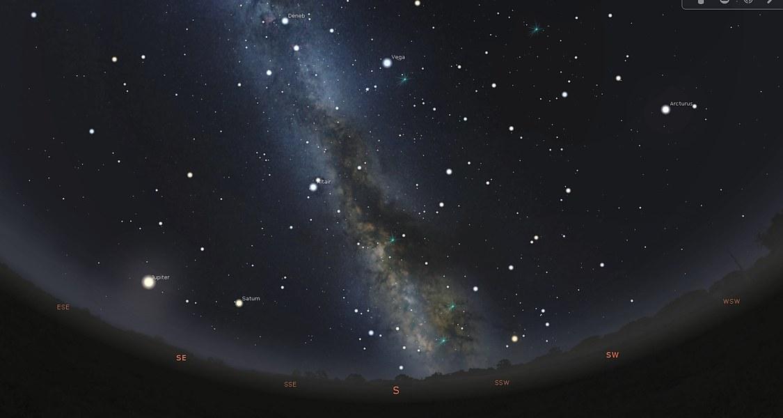 Blick in den nächtlichen Sternenhimmel am 12. Juni 2021