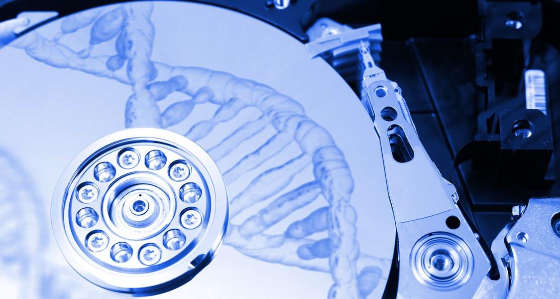 DNA Helix auf Festplatte