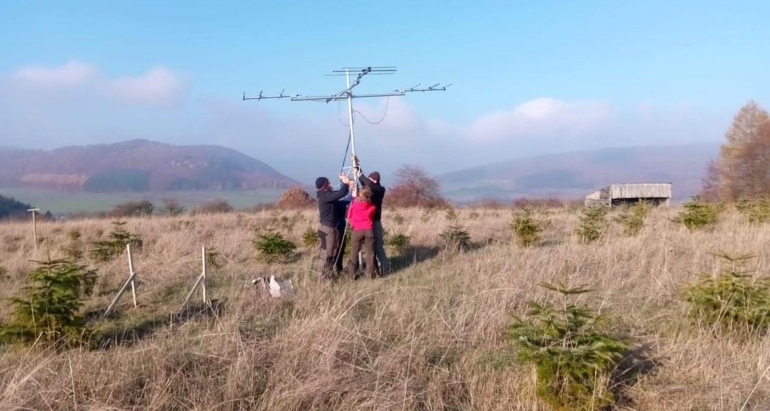 Vier Leute bauen eine Antenne auf einer Waldlichtung ab.