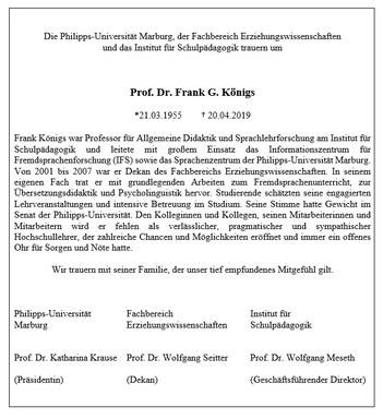 Traueranzeige Prof. Dr. Frank G. Koenigs