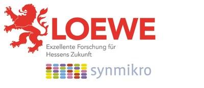 Logo Förderprogramm LOEWE zusammen mit Logo des Zentrums für Synthetische Mikrobiologie, kurz SYNMIKRO