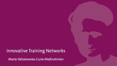 Bild mit Marie Sklodowska Curie, Logo des EU-Förderprogramms