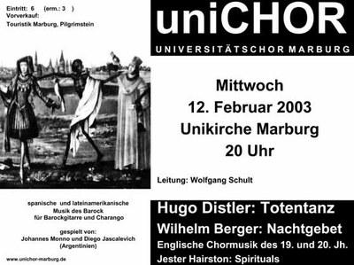 2002 Wintersemester Konzertplakat