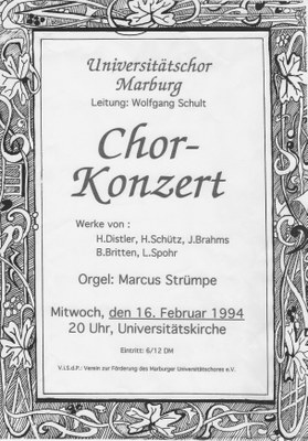 1993 Wintersemester Konzertplakat