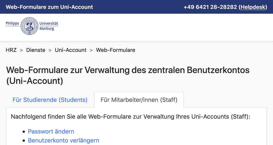 Webformulare zum Uni-Account